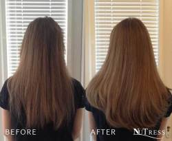 Length and thickness added with hair extensions.