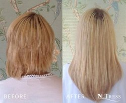 Micro bond hair extensions for very short, thick hair.