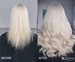 Micro bond hair extensions for length and volume.