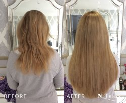A full head of micro bonds hair extensions.
