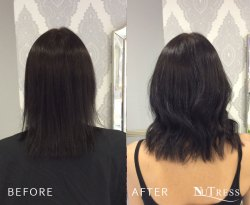 Micro ring hair extensions for thin hair.