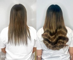 Russian hair, hand blended micro bond hair extensions.
