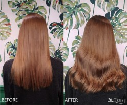 Hand blended, coloured Russian hair micro bond hair extensions.
