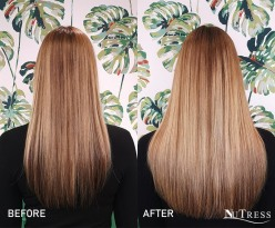 A half head of hand blended, micro bond hair extensions.