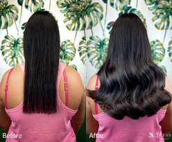 Reapplication of double drawn virgin Russian micro ring hair extensions