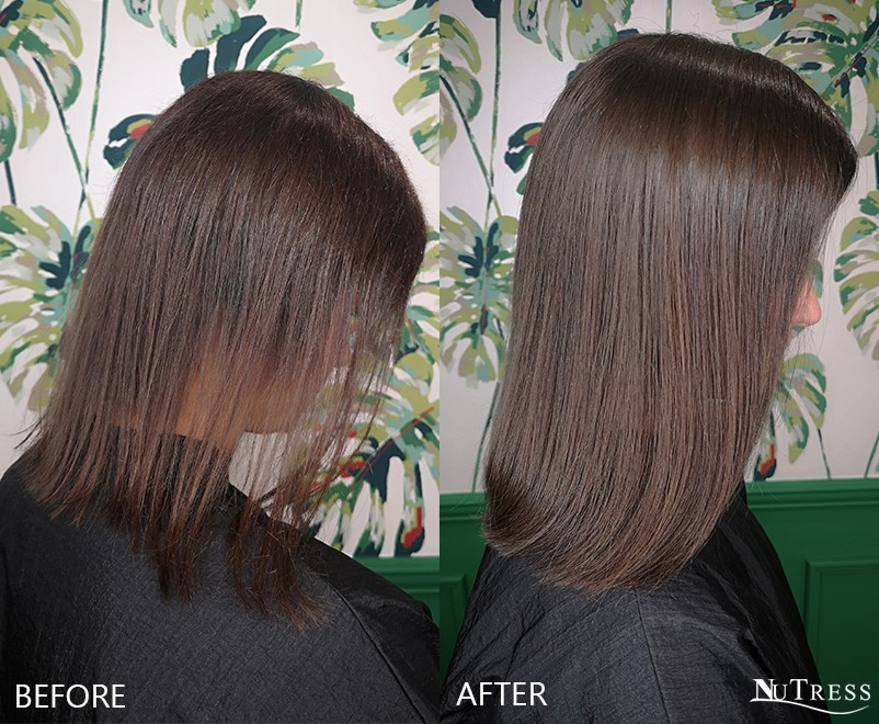 Before and after side shot of a woman with post pregnancy hair loss wearing micro bond hair extensions for thickness in a Manchester salon.