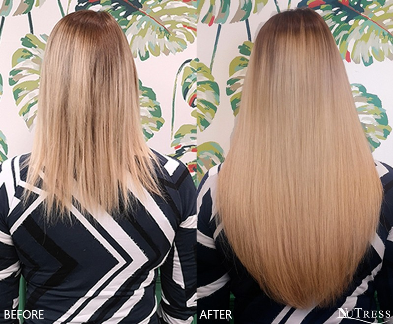 Before and after photo of a woman with short fine hair wearing long blonde straight Russian micro ring hair extensions in Manchester salon.