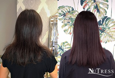 back shot of a woman with thin hair due to post pregnancy hair loss and 1 year after when it has recovered with hair extensions in Manchester salon