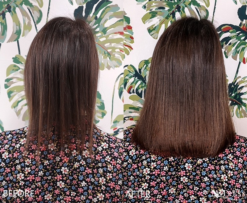 Before and after hair extensions photo of a woman with very thin hair brown hair having hair extensions applied for thickness in a Manchester salon