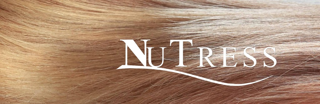 Shine long flowing hair with the NuTress logo printed on top